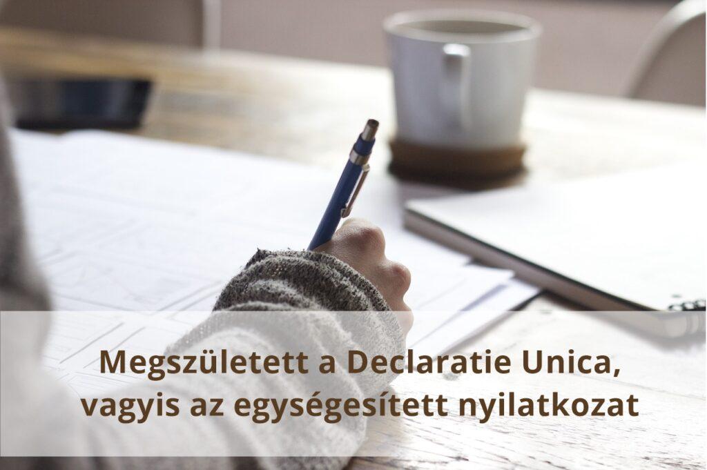Megjelent az új Declaratie Unica- Egységesített nyilatkozat